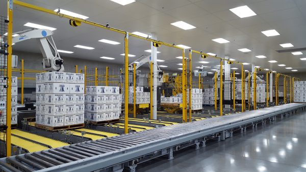 A case palletising system where several Columbia Okura robots work together