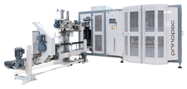 A large grey packaging machine.