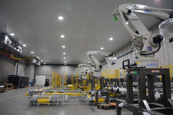 A multi-line system of several columbia okura robots