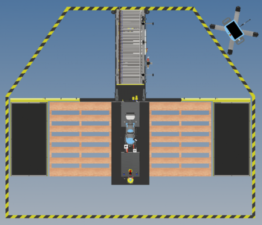 The floor plan drawing from above of the miniPAL cobot robotic palletizer